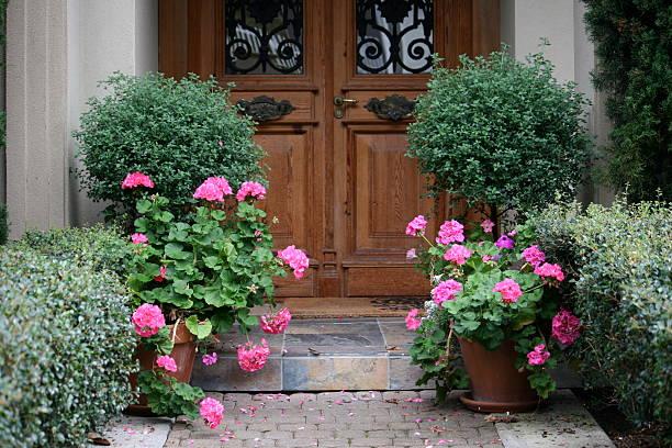 Entrée avec fleurs roses et buissons taillés, porte en bois vitrée